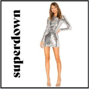 NWT Superdown Shayla Silver Sequin Dress Size L